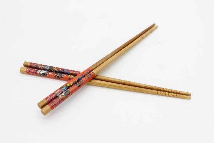 THH 炭化红底彩筷 100双