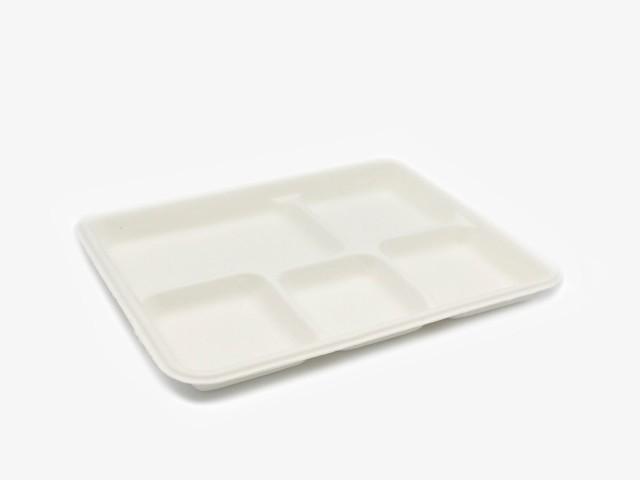 T009 5格纸浆长方盘 26.5x21.5cm 500只